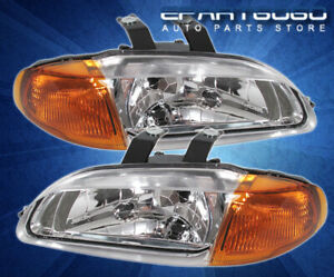 92 95 Honda Civic Eg Coupe Chrome Amber Corner Head Fog Clear Light Assembly