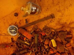 Allis Chalmers Wd 45 Wd45 Tractor Box Of Misc Ac Bolts Nuts Parts Pieces Bracket