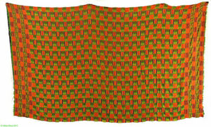 Kente Cloth Handwoven Textile Asante Large Old Green Africa