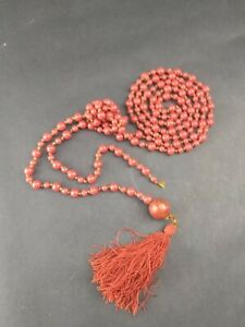 Antique Chinese Coral Red Glass Bead Long Court Necklace