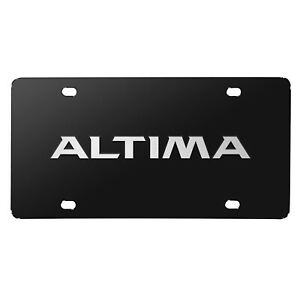For Nissan Altima 3d Brush Metal Look Logo Black Stainless Steel License Plate