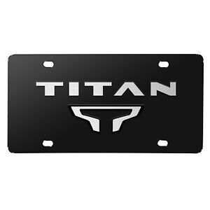 Nissan Titan Dual 3d Brush Metal Look Logo Black Stainless Steel License Plate