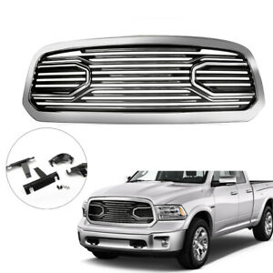 New Front Big Horn Chrome Packaged Grille Shell For 2013 2018 Dodge Ram 1500 T