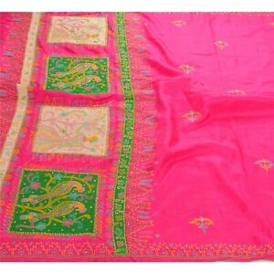 Sanskriti Antique Vintage Saree 100 Pure Silk Hand Beaded Fabric Parrot Sari