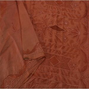 Sanskriti Vintage Orange Saree Pure Silk Hand Beaded Fabric Craft Sari Pearl