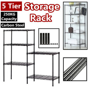 5 Tier Metal Storage Rack Wire Shelving Shelf 5 Shelf Shelves Unit Kitchen Black
