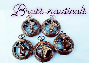 Lot Of Collectible 5 Vintage Maritime Brass Push Button Sundial Pocket Compass