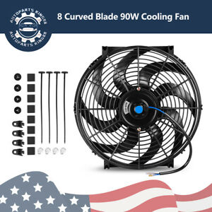 14 Inch Electric Cooling Fan Slim Pull Push 2550cfm Radiator 80w Mount Kit