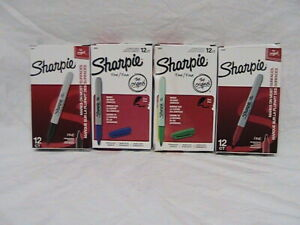 4 Boxes New Sharpie Fine Point Permanent Markers 12 Each Of Black Blue Red Green