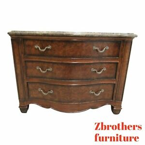 Henredon Oversized Burl Wood Regency Marble Top Chest Of Drawers Dresser A