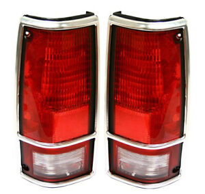 New Pair Of Tail Lights With Bezel Fits Gmc Sonoma 1991 1993 915708 Gm2800105