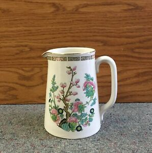 Antique Ironstone Porcelain Milk Cream Pitcher 5 3 4 Tall Multi Floral Flowers