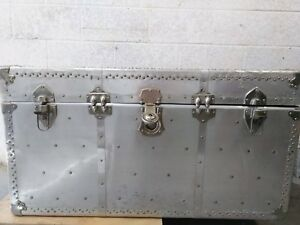 Vintage Long Mfg Lock Large Silver Metal Steamer Aviation Trunk Chest
