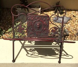 Vintage Red Wrought Iron Magazine Book Rack Holder Cameo Center