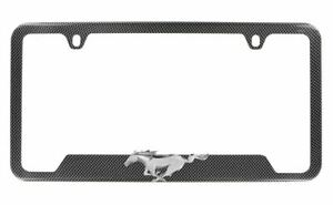 Carbon Fiber License Plate Frame W 3d Ford Mustang Running Horse Hydrographic