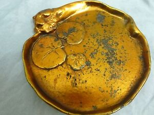 Mc Clelland Barclay Art Deco Dresser Trinket Dish Lily Pads Gold Top White Botto