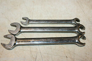 Snap on Tools Flare Nut Open End 6 point Wrench Set 3pcs