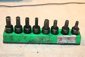 Matco Tools 3 8 Drive Metric Standard Torx Hex Brake Socket Set 8p Green Tray