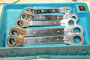 Matco Tools Geared Ratcheting Metric Box End Wrench Set 5pcs Tray