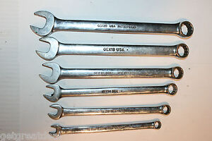 Snap on Tools Combination 12 point Standard Length Wrench Set 6pc