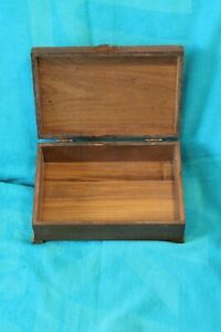 Vintage Solid Walnut Dovetailed Construction Inlaid Wood Jewelry Box