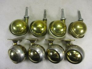 Vintage Bassick Shepherd Brass Swivel Ball Sphere Caster Wheels 2 Sets