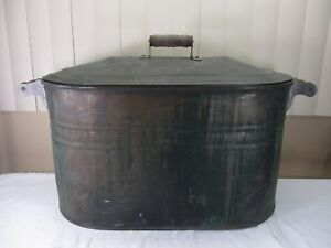 Antique Copper Wash Tub Bin Boiler With Lid Wooden Handles Cir 1920 S 1930 S