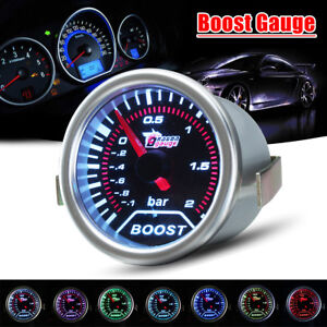 Universal 2 52mm 7 Color Car Led Bar Turbo Boost Vacuum Press Gauge Meter 12v
