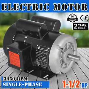 Electric Motor 1 1 2 Hp Single phase 3450rpm Tefc 5 8 Shaft Rotation Machinery