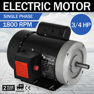 Electric Motor 3 4 Hp 1 Phase 1800 Rpm 5 8 Inch Shaft Flange Machinery Outdoors