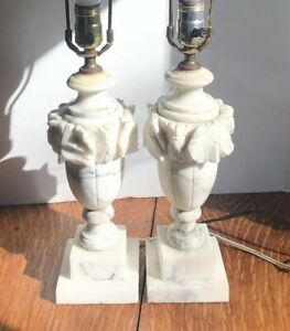 Pair Antique Vintage Marble Heavy Carved Alabaster Lamps White Gray