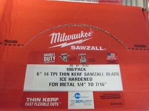 Milwaukee 48 01 9182 Sawzall Blade 14t 6in Ice Hardened Metal Thin Kerf 100pk