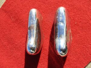 1952 Studebaker Front Outer Large Bumper Guards Pair Solid Metal