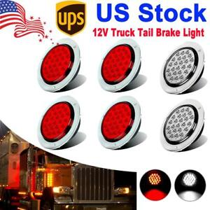 6x Red white 4 Round 24 Led Stop Turn Tail Lights Backup Reverse Truck Trailer