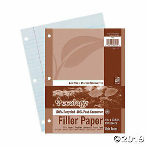 Recycled Filler Paper White Wide Ruled 12pks