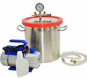 5 Gallon Vacuum Chamber With 3cfm Single Stage Pump To Degassing Silicone