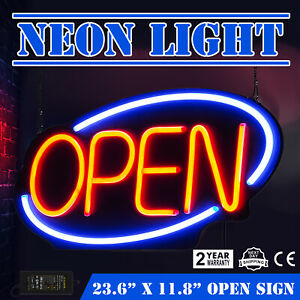 Horizontal 23 6 x11 8 Neon Open Sign 60w Led Light Hanging Chain Bar Restaurant