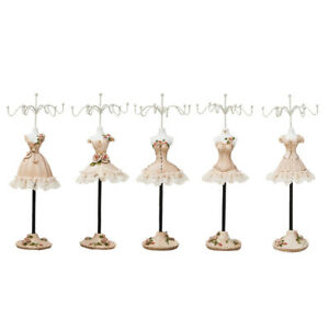 5pcs Creative Jewelry Stand Holder Iron Resin Model Rack Lady Figure Decor