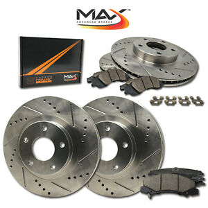 front rear Slotted Cross Drilled Rotors With Ceramic Pads Hardware Kit