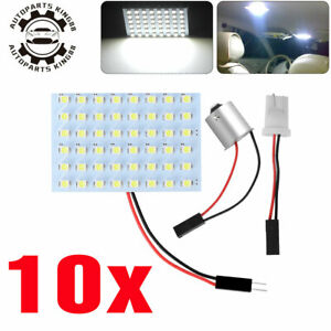 10x White Rv Trailer 48smd Interior Panel Led Dome Map Light 1156 Ba15s Adapter