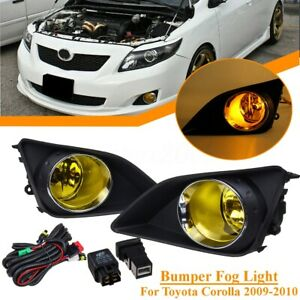 Pair Front Bumper Yellow Fog Light Lamp Cover Kit For Toyota Corolla 2009 2010