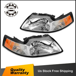 Pair Chrome Headlights For 99 04 Ford Mustang W Amber Corner Turn Signal Lamp