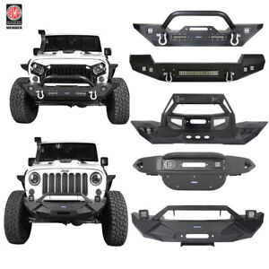 Black Front Bumper Bar W Led Spotlights D rings Fit 07 18 Jeep Wrangler Jk