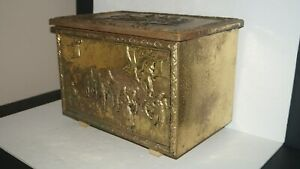 Vintage Home Decor Embossed All Metal Storage Trunk Chest 12 7 T X 18 W