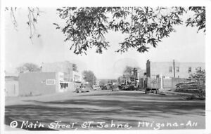 Autos truck St John's Arizona Main Coca Cola 1940s RPPC Photo Postcard 3662