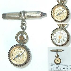Antique Victorian Pocket Watch Compass Clock Fob Chatelaine Universal Watch Key