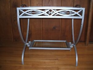 Vintage Wrought Iron W Beveled Glass French Deco Console Bar Tray Table