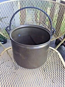 Vintage Copper Planter Plant Pot Antique Round Brass Handles Bucket Garden