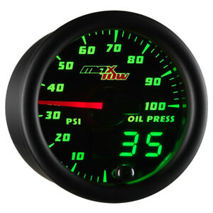 52mm Maxtow Double Vision Oil Pressure Psi Gauge Green Led Digital Analog