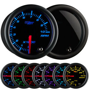 52mm Glowshift 7 Color Led Tacho Tachometer Gauge W Smoked Tinted Lens